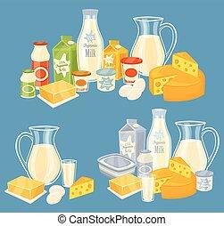 lechería, aislado, vector, productos, ilustración