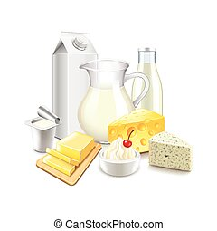 lechería, blanco, vector, productos, aislado