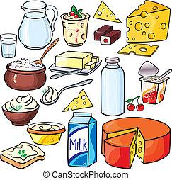 lechería, conjunto, productos, icono