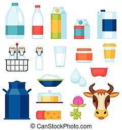 lechería, conjunto, productos, leche, objetos