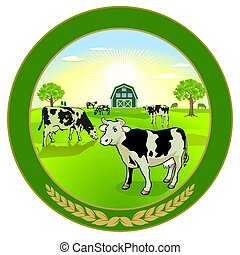 lechería, vacas, -, ilustración, vector, orgánico, ...