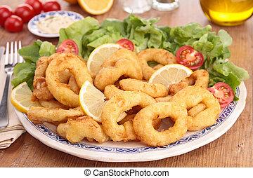lechuga, calamar, anillos