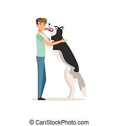 lecken, doggy, vektor, menschliche , spaß, am besten, kerl, langer, face., trifft, time., wohnung, mann, eigentümer, inländisch, glücklich, friends., husky., haben, hund, animal., nach, sibirisch, s