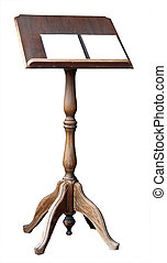 Lectern with Open book with copy space. Isolated with clipping path