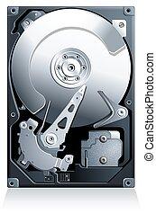 lecteur disque dur, hdd, vecteur