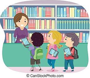 lector, stickman, niños, bibliotecario, ilustración