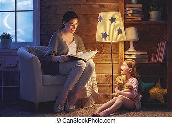 lectura, bedtime., familia