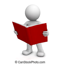 lectura, carácter, libro, 3d