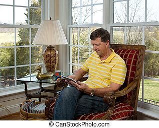 lectura, computadora, boomer, tableta