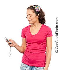 lectura de la muchacha, sms, bastante
