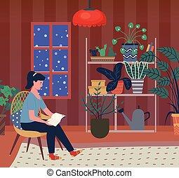 lectura de mujer, libro, en, invierno, tarde, en casa, solamente