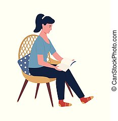 lectura de mujer, libro encuadernado, se sentar sobre el sillón de la presidencia