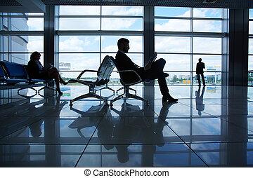 lectura, en, aeropuerto