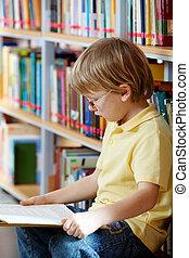 lectura, en, biblioteca