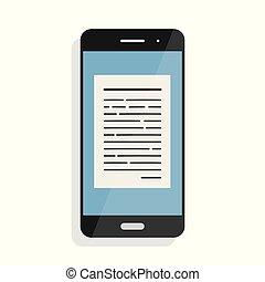 lectura, en línea, artículos, y, noticias, en, móvil, teléfono., en línea, books., vector, ilustración, en, plano, estilo, aislado, blanco, plano de fondo
