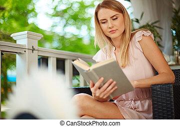 lectura, en, ocio