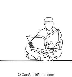 lectura, fez, hombre, koran.