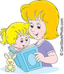 lectura, hija, madre