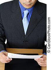 lectura, hombre de negocios