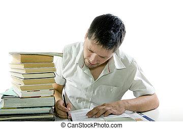 lectura hombre, libro, en, el, biblioteca