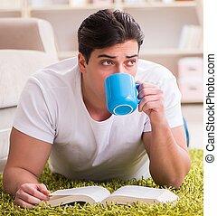 lectura hombre, libro, hogar, piso