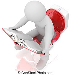 lectura hombre, un, libro, en, lavabo