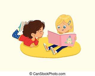 lectura, isolated., dos niñas, kindergarten., ilustración, ...