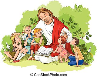 lectura, jesús, biblia, niños