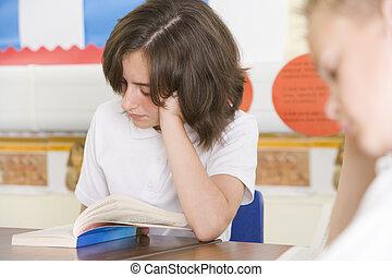 lectura, libros, clase, alumnos