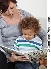lectura, mujer, libro, niño