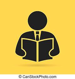 lectura, persona, icono