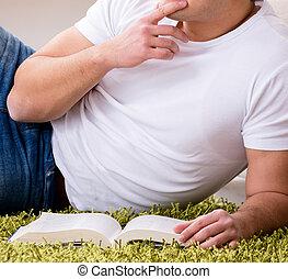 lectura, piso, hombre, hogar, libro