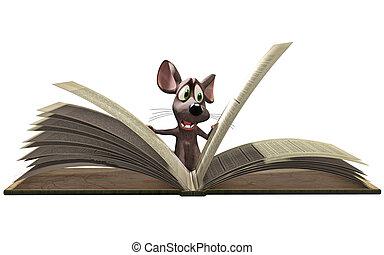 lectura, ratón, libro