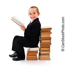 lectura, sabio, libro, niño