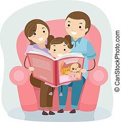 lectura, stickman, libro, familia