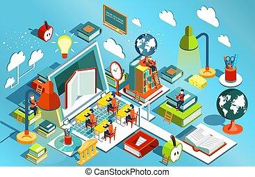 lectura, vector, isométrico, aprendizaje, concepto, en...