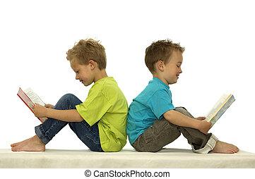 lecture, amis, deux, heureux