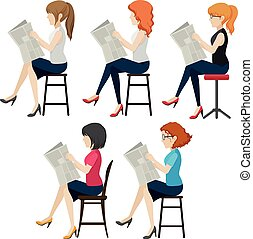 lecture, anonyme, femmes