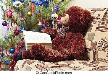 lecture, arbre, noël, ours
