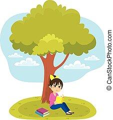 lecture, arbre, sous