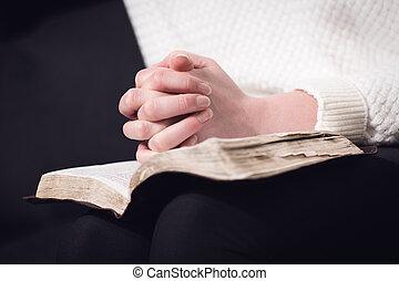 lecture, bible, et, prier