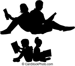 lecture, book., silhouette, famille