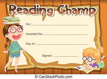 lecture, champion, certificat, gabarit