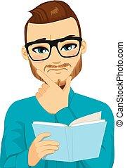 lecture, concentré, livre, homme