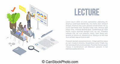 Lecture concept background, isometric style