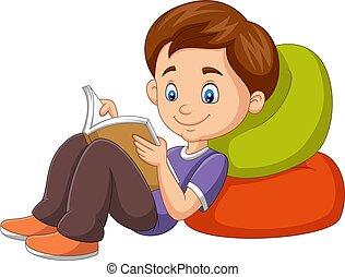 lecture, dessin animé, livre, garçon