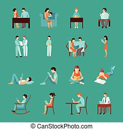 lecture, ensemble, gens