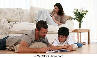 lecture, famille, ensemble