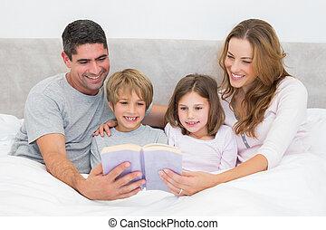 lecture, famille, livre contes