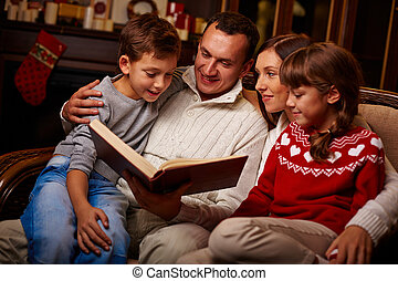 lecture, famille